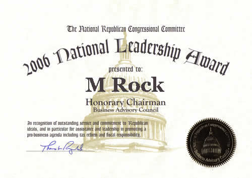 2006 National Leadership Award presented to M Rock